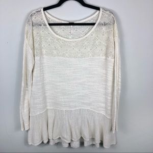 Free people white lace semi sheer top K28